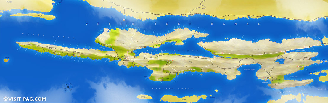 Karta otoka Paga